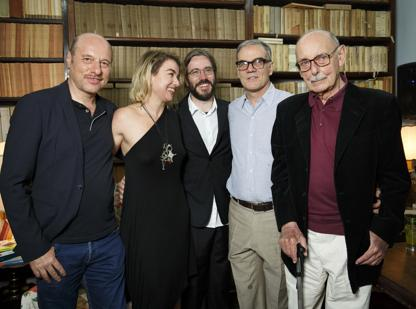 La cinquina finalista: da sinistra, Edoardo Albinati, Elena Stancanelli, Giordano Meacci, Eraldo Affinati e Vittorio Sermonti