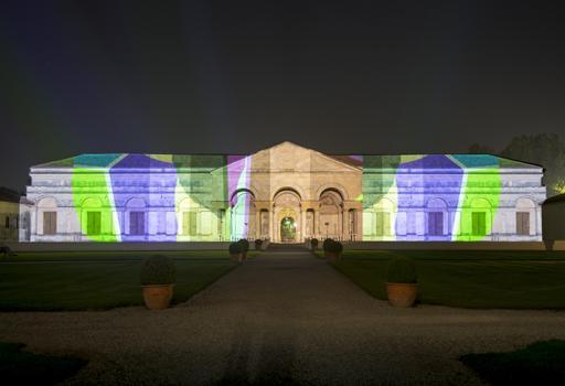 Le prove generali dell'installazione a  Palazzo Te a Mantova (Foto Gianmaria Pontiroli)