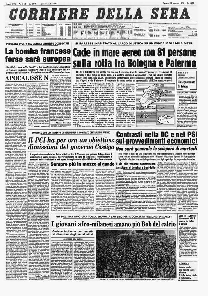 27 giugno 1980 la strage di ustica 36 anni dopo il ricordo - Corriere della sera cucina ...