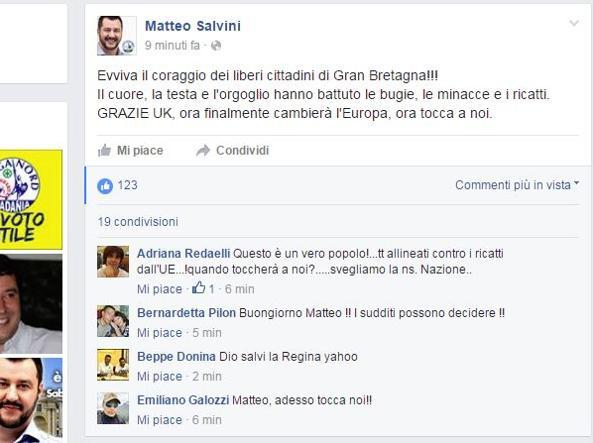 Il post di Salvini su Facebook