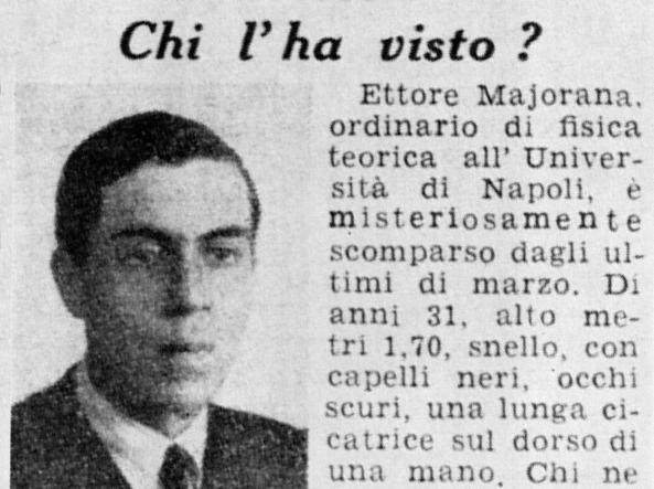 L'annuncio della famiglia Majorana comparso sulla «Domenica del Corriere» del 17 luglio 1938