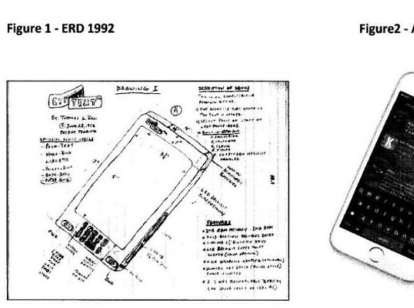 Il disegno originale di Ross e la prima versione dell'iPhone