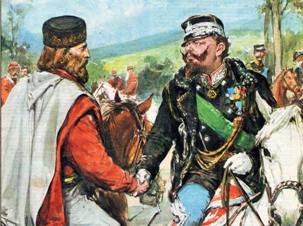 L'incontro di Teano fra Garibaldi e Vittorio Emanuele II, in una copertina della Domenica del Corriere