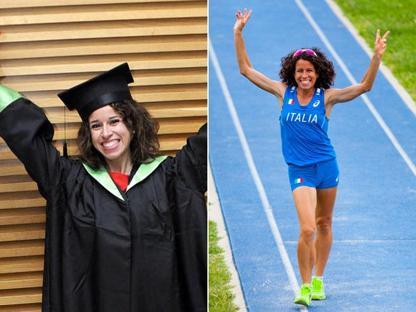 Eleonora Giorgi: a sinistra, il giorno della laurea, e a destra durante un allenamento