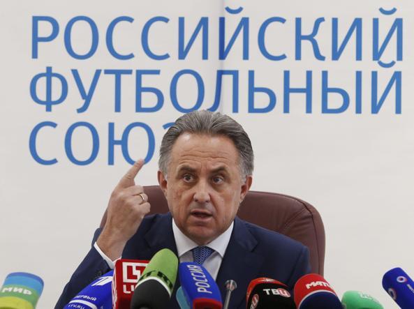 Vitaly Mutko a una conferenza dell'Unione calcistica russa (Epa/Kochetkov)