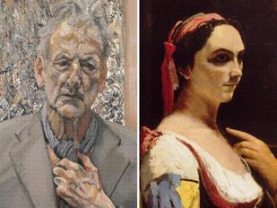 A sinistra: autoritratto di Lucian Freud (2002); a destra: Corot, �Donna italiana� (1870 circa)