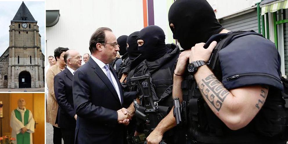 Hollande sul luogo dell'attacco. Nel riquadro in alto la chiesa attaccata; in basso padre Jacques Hamel, 86 anni