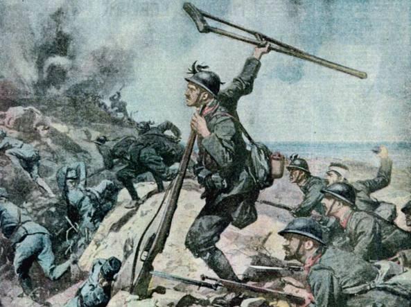 La copertina dedicata a Enrico Toti da Achille Beltrame sulla «Domenica del Corriere» (24 settembre-1° ottobre 1916)
