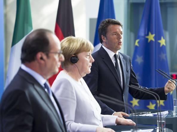 Hollande, Merkel e Renzi a Roma nel giugno 2016 (LaPresse)