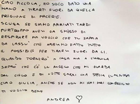 TERREMOTO CENTRO ITALIA: la straziante lettera a GIULIA del Vigile del fuoco
