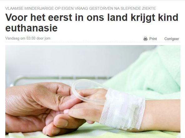 Eseguita la prima eutanasia di un minorenne in Belgio