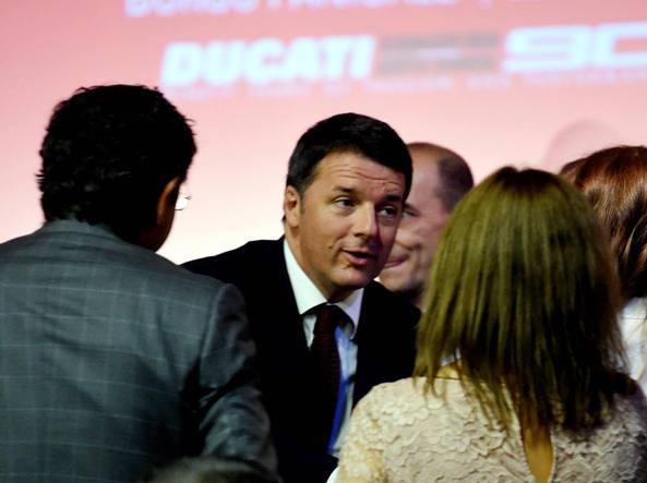 Il premier Renzi all'inaugurazione del museo Ducati, a Borgo Panigale (Fotogramma)