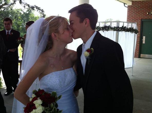 Katie e Dalton Prager il giorno del loro matrimonio