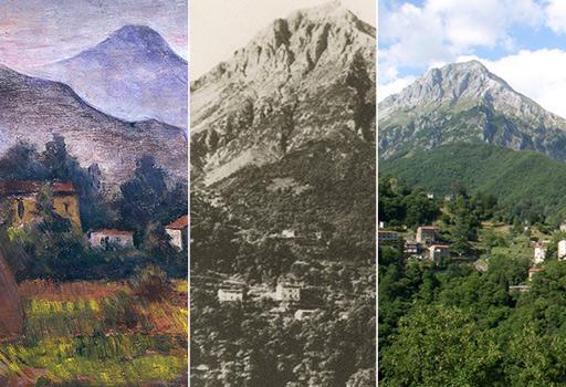 A sinistra �Le Apuane� (1941) di Carlo Carr�; al centro Il monte Pania