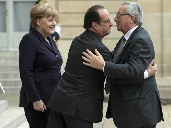Merkel, Hollande e Juncker  (Epa)