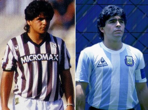 Hugo Maradona, a sinistra, fratello di Diego Armando Maradona. Fu ingaggiato dall'Ascoli, lo mandava il campionissimo. Non lasciò quasi traccia