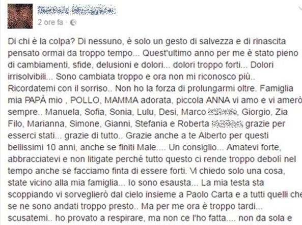 Cagliari, modella 26enne annuncia suicidio su Fb: è grave