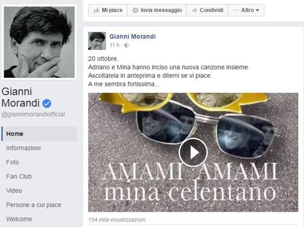 Gianni Morandi svela in anteprima la canzone di Mina e Celentano
