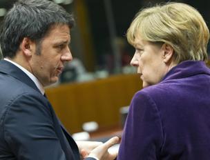Il premier Matteo Renzi e la cancelliera Angela Merkel