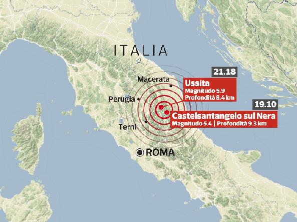 La mappa del sisma. Le scosse sono state avvertite nel Centro e nel Nord Italia
