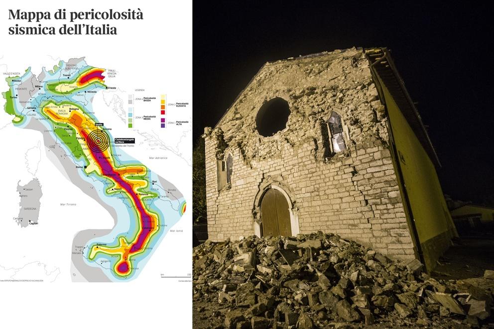 La mappa di pericolosità sismica dell'Italia  e la chiesa di Santa Maria Assunta a Ussita (Jpeg)