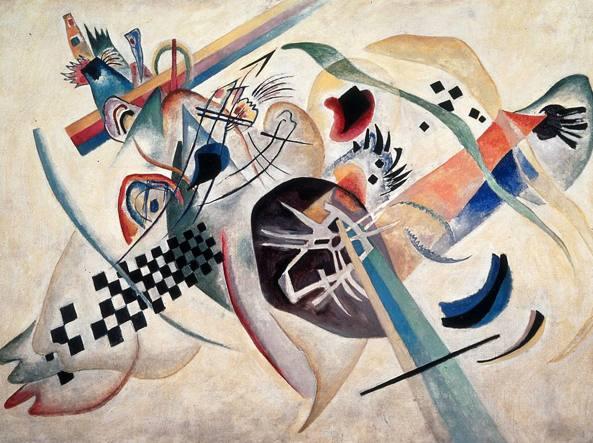 «Composizione su bianco», un'opera realizzata nel 1920 dal pittore russo Vassily Kandinsky (1866-1944), San Pietroburgo, Museo di Stato Russo