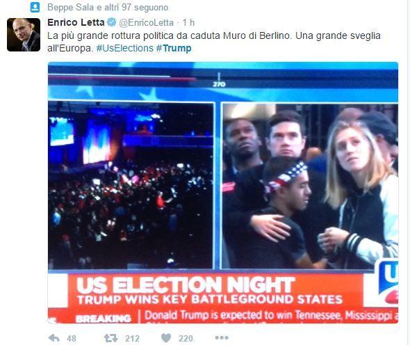 Enrico Letta Twitter: Elezioni Presidenziali Usa 2016, Trump Presidente: Le