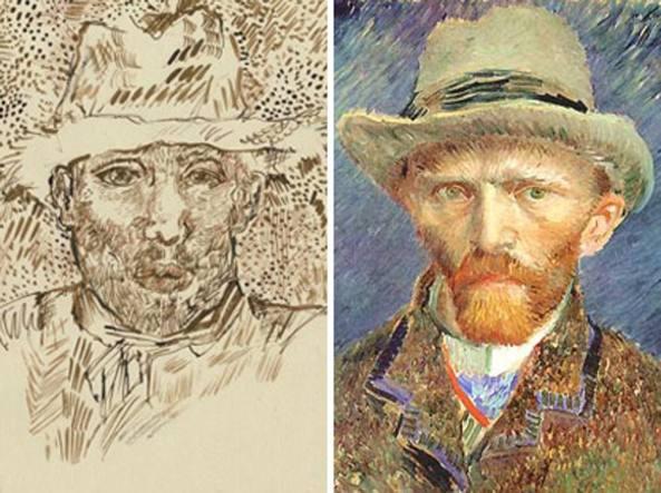 A sinistra, il ritratto disegnato sulla copertina di «Vincent van Gogh, il registro di Arles, quaderno ritrovato» (Seuil), a confronto con un'altra opera del pittore con lo stesso soggetto