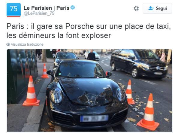 Parcheggia Porsche al posto dei taxi. Polizia la fa esplodere: