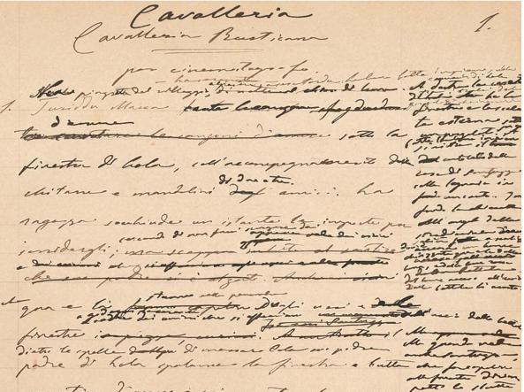 La prima pagina dell'adattamento cinematografico di «Cavalleria rusticana», uno dei tre lotti di autografi verghiani all'asta a Parigi per Christie's il prossimo lunedì 5 dicembre