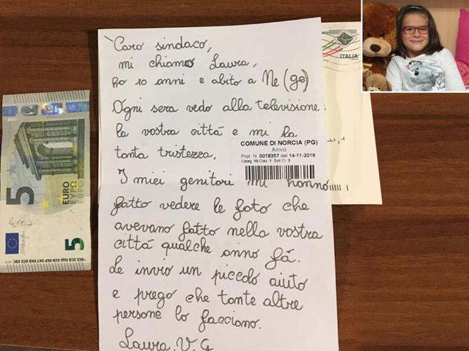«Caro sindaco di Norcia, ti mando 5 euro per le persone senza casa»