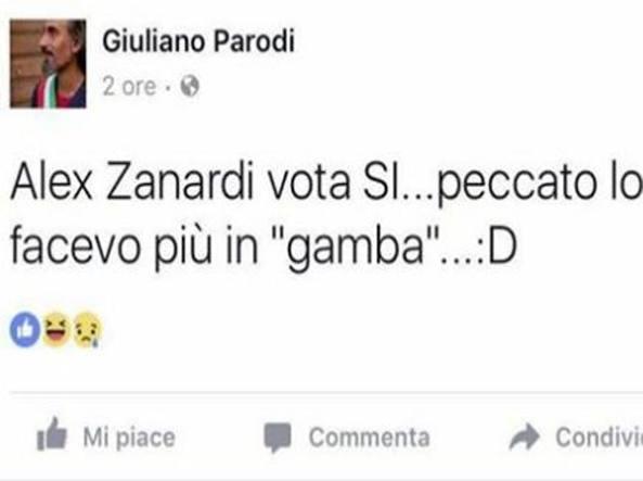 «Zanardi vota Sì, peccato lo facevo più in gamba»: il post del sindaco diventa un caso