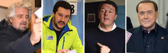 Alle urne:  Beppe Grillo, Matteo Salvini, il premier Matteo Renzi e Silvio Berlusconi
