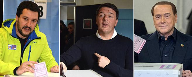 Alle urne: Matteo Salvini, il premier Matteo Renzi e Silvio Berlusconi