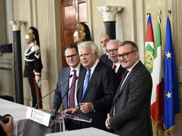 Francesco Saverio Romano, Denis Verdini, Lucio Barani and Enrico Zanetti (Ansa)