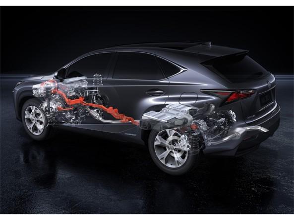 Lo schema del sistema ibrido della Lexus NX300h