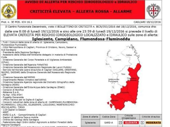 Sardegna: allerta meteo rossa ed arancione ecco dove