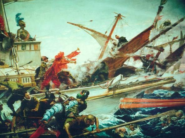 La battaglia di Lepanto tra le flotte cristiane e turca in un dipinto realizzato nel 1887 dall'artista spagnolo Juan Luna (1857-1899), Madrid, Senato di Spagna