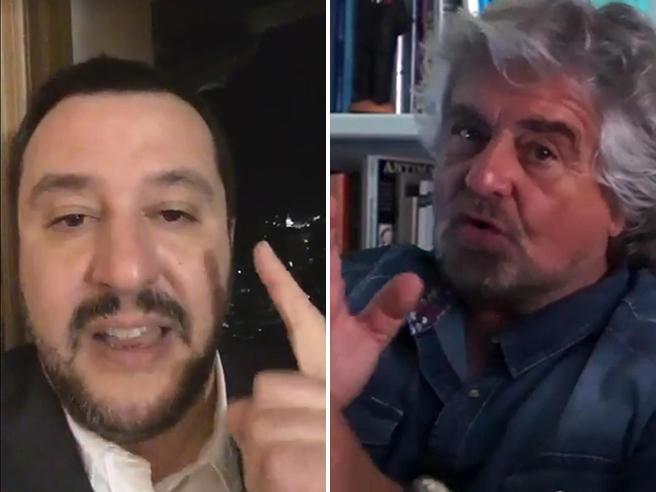 """I controdiscorsi di  Salvini e Grillo:  """"Dal Colle vuoto assoluto""""  """"Il M5S ha rotto il sistema, ora orgoglio italiano"""""""