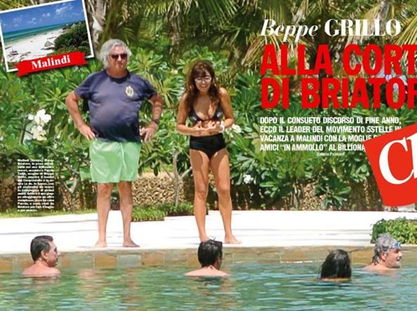 Flavio Briatore e Beppe Grillo a Malindi nel 2015 (foto pubblicata su Chi)