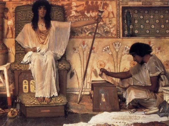 Sir Lawrence Alma-Tadema (1836 – 1912), «Giuseppe, supervisore dei granai del Faraone» (1874, olio su tavola, particolare)