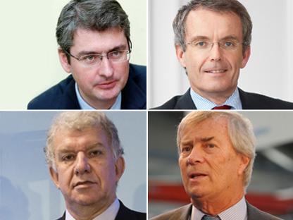 Da sinistra, Emmanuel Besnier, Bernd Scheifele, Yves Perrier, Vincent Bolloré