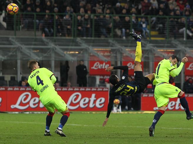 Inter Bologna, il gol in rovesciata di Murillo