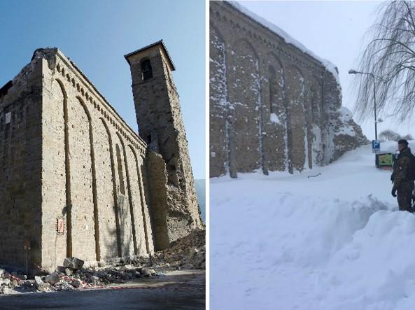 La chiesa di Sant'Agostino ad Amatrice dopo il terremoto del 24 agosto 2016 e dopo quello del 18 gennaio 2017 (Ansa)