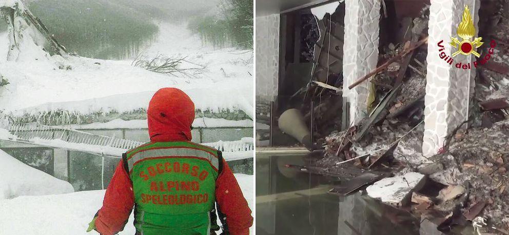 Un membro del soccorso alpino davanti all'hotel e a destra