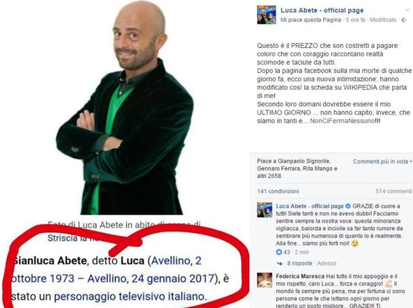Su Wikipedia compare la data di morte di Luca Abete