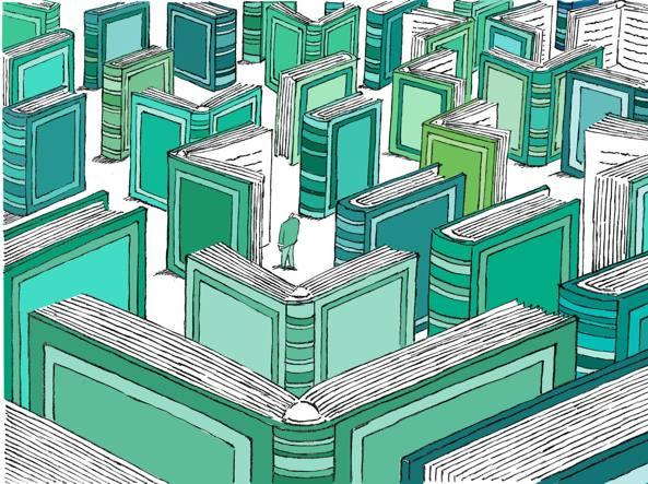 Un labirinto di libri nell'illustrazione di Doriano Solinas