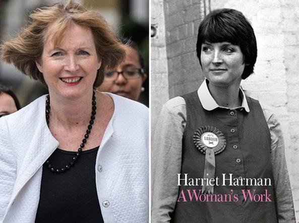 Harriet Harman, oggi ha 66 anni e siede in Parlamento da 34. In alto a destra la copertina della sua autobiografia in uscita nei prossimi giorni