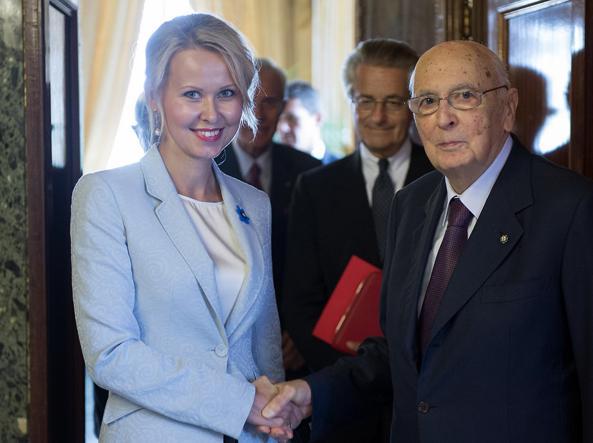 L'ambasciatrice estone con l'ex presidente della Repubblica Giorgio Napolitano