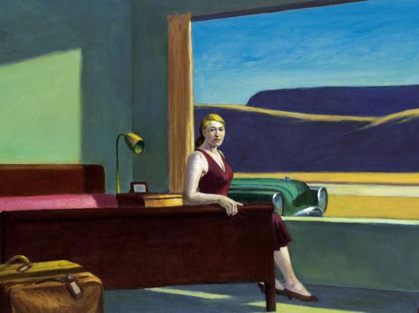 Edward Hopper (Nyack, New York, 1882 –  New York, 1967), Western Hotel(1957, olio su tela, particolare), New Haven,  Yale University Art Gallery